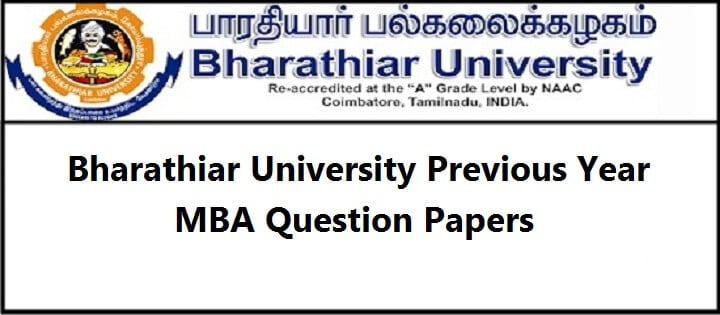 Bharathiar University Previous Year Question Paper for MBA